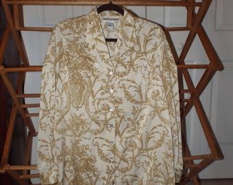 Women's Vintage Blouse With Cherubs Size 10 Long Sleeve 1990s Fashion