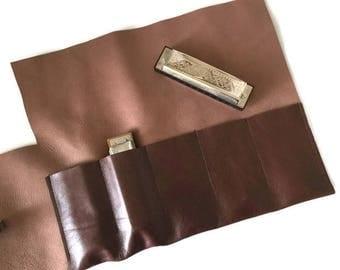 Brown Nappa Leather Diatonic Harmonica Case, Belt Pouch, Harmonica Pouch, Harp Case, Harmonica Holster, Five Slots