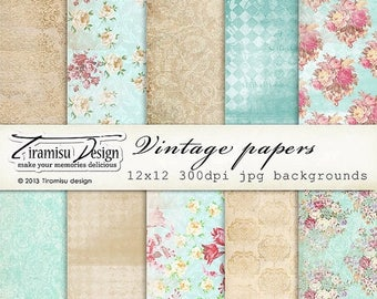 ON SALE Scrapbook Papers and Digital Paper Pack 7-Shabby Chic