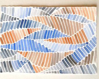 "Geometric watercolour painting, Blue Camel Art work, Minimalist art, Geometric wall art, Small watercolours 7,5 x 11""/ Home decor, Rakla17"