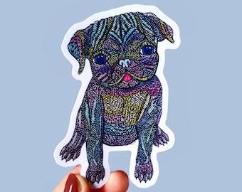 Vinyl Pug Sticker - Waterproof Sticker, Dog Lover Decal, Laptop Sticker, Diary Sticker, Pug Decor Gift, Bumper Sticker