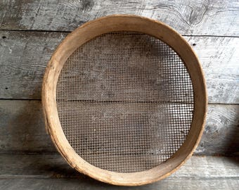 Primitive Large Wood & Screen Grain Sifter~ Farmhouse Rustic Decor