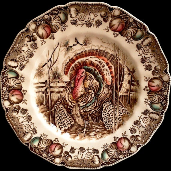Turkey dinner plate thanksgiving plate housewarming gift newlywed gift wedding gift bridal shower gift johnson brothers his majesty
