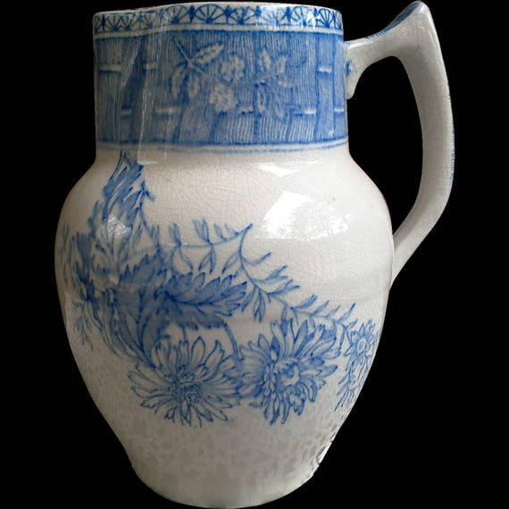 Antique Blue Pitcher, Early Ironstone, Floral, Lattice Details on Rim and Handle, Serving, English Transferware, Blue Transferware