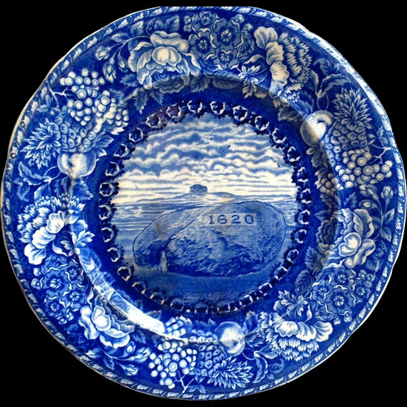 Antique Flow Blue Cabinet Dinner Plate, Historical Plymounth Mass, 1620 Pilgrim Rock Plate, English Transferware