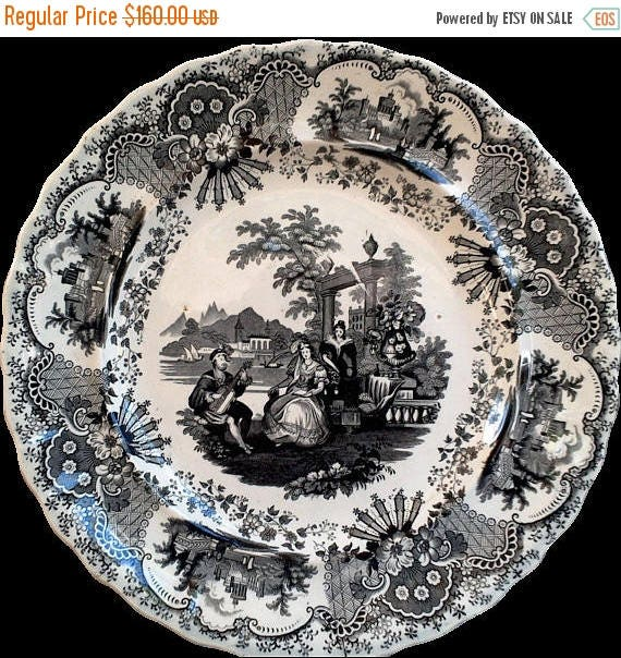 50% off Antique Black China Plate, Black China, Black Dishes, Old Dishes, Black Transferware, Spanish, Ironstone, Serving, China Dishes