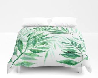 Palm Leaf Duvet Cover, palm leaf duvet, tropical duvet cover, leaf duvet cover, botanical duvet, green white duvet, palm duvet cover