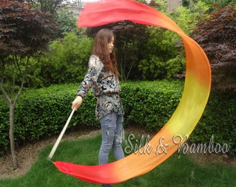 1 pc 2.5m*0.3m red-orange-yellow-orange-red silk streamer, for dance or play, real light silk, intercangeable sticks