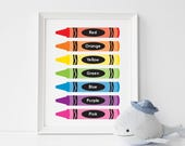 Crayon nursery art - printable educational poster - fun colours learning tool - preschool learning