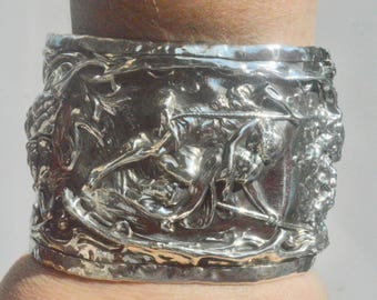 Antique Foster Bailey F&B Paul and Virginia Pierre-Auguste Cot Victorian Solid Sterling Silver 925 Wide Cuff Bracelet .925 Lovers on Swing
