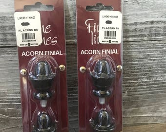 Set of 4 Small Black Acorn Finials/Knobs DIY
