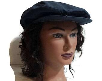 Vintage Country Gentleman Cap, Blue water repellent cap, mens hat, drivers cap, newsboy,  golf cap, cabbies hat, union made, medium