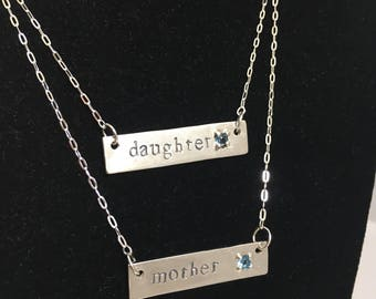 Mother-Daughter Necklace Set with Birthstones