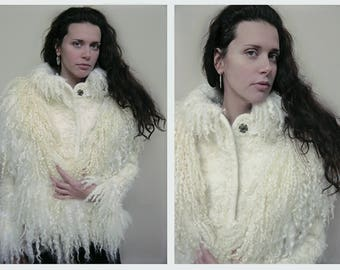 Snow queen - Eco and boho chic style warm wet felt fur wool coat with large felt fur collar - OOAK - any size to order