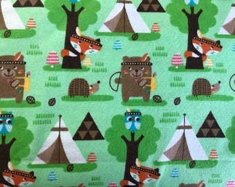 FLANNEL - Green Forest Animal Fabric - Bear Fabric - Fox Fabric - Porcupine Fabric - Squirrel Flannel - Camping Fabric - Foxes Fabric