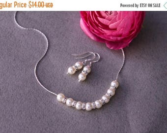 20% OFF Sale Pearl Jewelry Set , Bridal Pearl Rhinestone Necklace, Pearl Earrings, Bridal Party Gifts