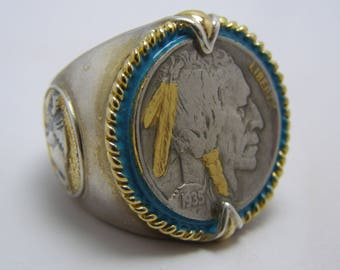 Vintage Sterling Silver 24K Gold 1935 US Indian Head Buffalo Nickel Men's Ring Honoring The American West Men's Ring