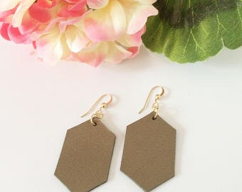 Leather earrings, hexagon earrings, shiny metallic leather, gold earrings, neutral colors, metallic leather earrings,shimmer,summer earrings