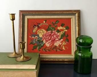 vintage petit point needlepoint floral orange and pink flower 80s framed crysanthemum
