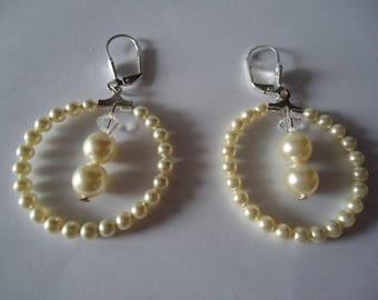 Earrings hoops swarovski pearls