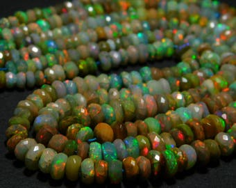 "Ethiopian Welo Opal Faceted Rondelle- 12""Strand -Stones measure- 4-6mm"