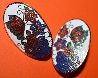 Vintage Cloisonne Enamel Butterfly on flowers Earrings 1980s