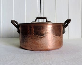 A 2mm hammered copper stock pot, dutch oven, sauce pan, sautee pan, with brass handles, vintage french professional cooking pot