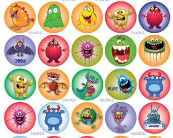 "30 Round 1.5"" MONSTER stickers labels Cute Bat Cat Vintage Party Favors Halloween"