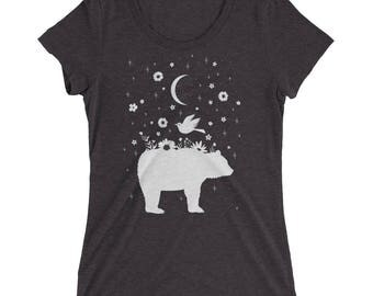 Moonlight Dream Bear - Ladies Triblend Tee - Charcoal - Eco Friendly Printing
