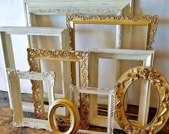 Open Picture Frame Set Of 9 Gold and White Shabby Chic Wall Decor