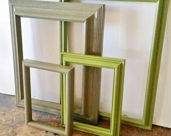 Green Picture Frame Set Of 4 Open/Empty Rustic Wall Decor