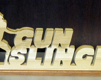 Gunslinger Football Stand Up Wood Sign
