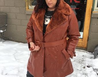 Vintage 1970's Burnt Orange Pleather Women's Coat Size 16 Fake Leather Coat