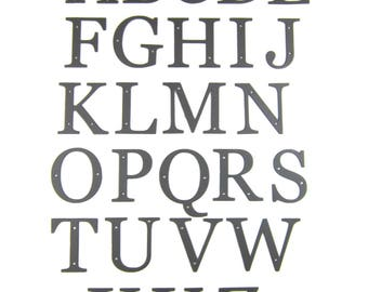 Standard hammered wrought iron alphabet letters