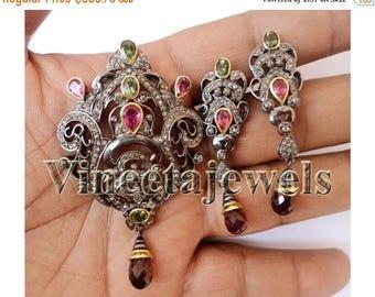 ON SALE 10% OFF Eye Catching   Rose Cut Diamond 925 Silver Vintage Inspired Pendant Set