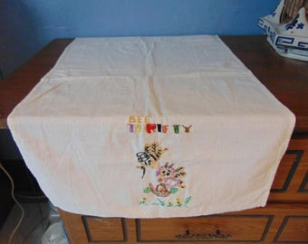 "Embroidered 'Bee Clean"" Tea Towel"
