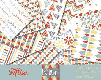 "Digital ""Fifties"" set of 12 paper sheets to print"