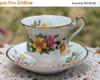 """ON SALE Paragon Fine Bone China Teacup and Saucer """"Wild Roses"""""""