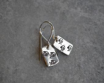 fish sterling silver dangle earrings