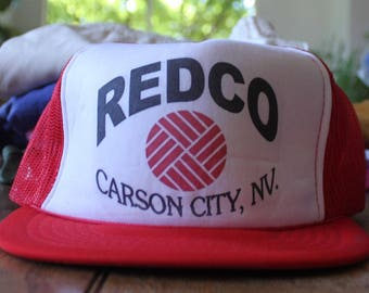Vintage Red and White Redco Carson City Nevada 1980s Trucker Hat