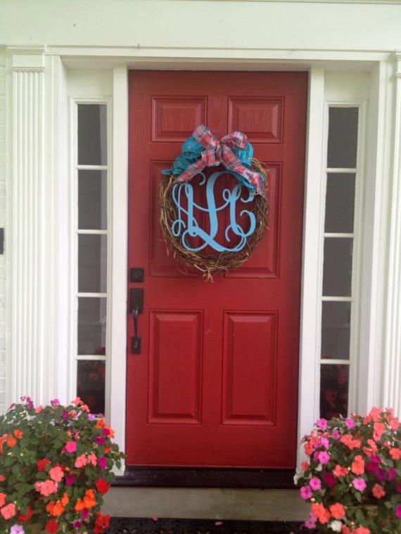 Like this item? & Monogram Door Sign Monogram Wreath Painted Wooden Initials