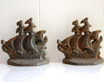 Vintage Cast Iron Galeon Bookends