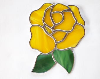 Stained Glass Yellow Rose Suncatcher
