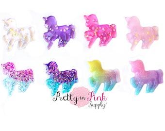 Unicorn Glitter Flat back Resin Embellishment - Unicorn Applique- Button- Embellishment- DIY Headband Supply