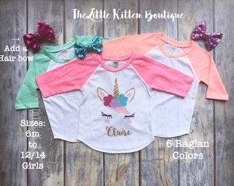 Girls Unicorn Shirt, Unicorn Shirts, Personalized Girls Unicorn Raglan, Girls Birthday Shirt, First Birthday Shirt, Unicorn Birthday Party