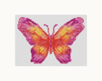 Cross Stitch Kit Butterfly Series: The Sunset MINI, Butterfly Cross Stitch, Embroidery Kit, Needlework DIY Kit (TAS129)