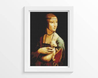 Woman Cross Stitch Chart, Lady with Ermine MINI Cross Stitch Pattern PDF, Art Cross Stitch, Leonardo da Vinci, Embroidery Chart (TAS136)