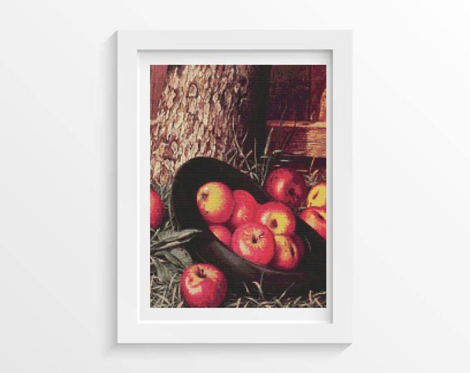 Cross Stitch Pattern PDF, Embroidery Chart, Art Cross Stitch, Still Life of Apples in a Hat by Levi Wells Prentice (PRENT01)