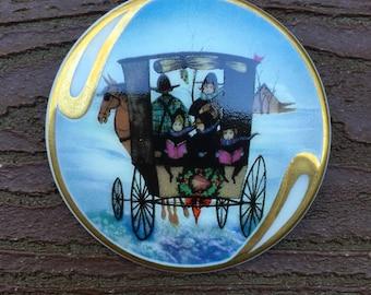 Vintage Signed P. Buckley Moss Society Anna Perenna Christmas Pin Brooch Pendant