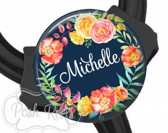 Navy Floral Wreath Stethoscope ID Tag - Littmann Cardiology Stethoscope ID Tag - Fits All Stethoscopes At The Yoke - Littman - 1661